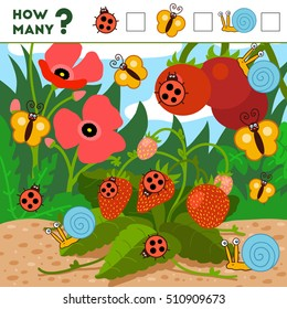 Counting Game for Preschool Children. Educational a mathematical game. Count how many items and write the result. Insects and background