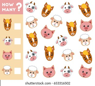 Counting Game for Preschool Children. Educational a mathematical game. Count how many farm animals and write the result!