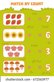 Counting Game for Preschool Children. Educational a mathematical game. Count objects in the picture and choose the right answer
