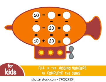 Counting Game for Preschool Children. Educational a mathematical game. Count the numbers in the picture and write the result. Addition and subtraction worksheets with Airship