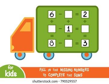 Counting Game for Preschool Children. Educational a mathematical game. Count the numbers in the picture and write the result. Addition and subtraction worksheets with Lorry