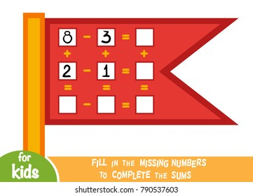 Counting Game for Preschool Children. Educational a mathematical game. Count the numbers in the picture and write the result. Addition and subtraction worksheets with a flag