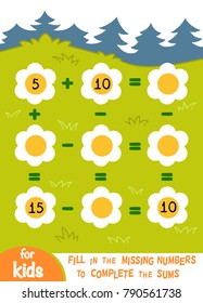 Counting Game for Preschool Children. Educational a mathematical game. Count the numbers in the picture and write the result. Addition and subtraction worksheets on a background with a blooming glade