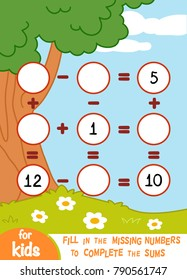 Counting Game for Preschool Children. Educational a mathematical game. Count the numbers in the picture and write the result. Addition and subtraction worksheets on a summer background