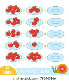 Counting Game for Preschool Children. Educational a mathematical game. Count the number of apples on the plates and write the result. Subtraction worksheets