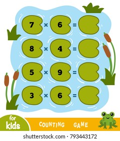 Counting Game for Preschool Children. Educational a mathematical game. Count the numbers in the picture and write the result. Tasks for multiplication on the background of a pond