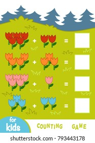 Counting Game for Preschool Children. Educational a mathematical game. Count the numbers of flowers and write the result. Addition worksheets on the background of a glade