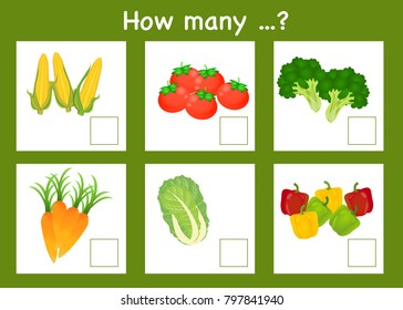 Counting game for preschool children. Educational a mathematical.How many vegetable objects and write the result in white box