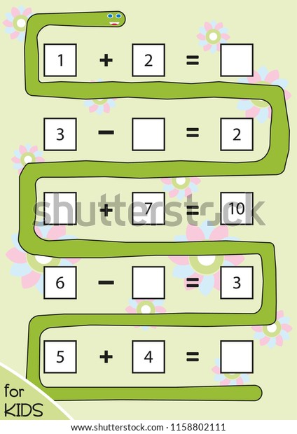 Counting Game Preschool Children Print On Stock Vector ...