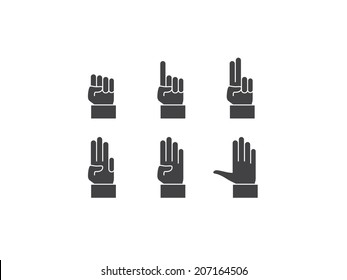 Counting hand. Vector icons.