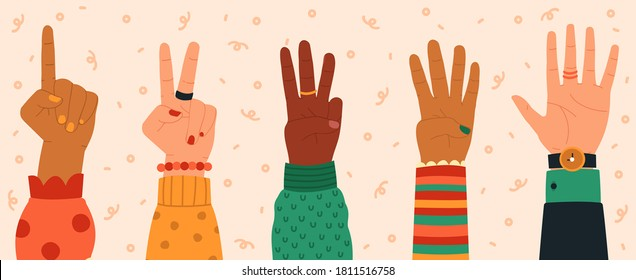 Counting hands. Hand gestures, modern hand drawn finger count from one to five, numbers shown by hands, trendy vector illustration icons set. Diverse people counting down, giving message