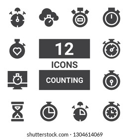 counting icon set. Collection of 12 filled counting icons included Stopwatch, Stop watch, Chronometer, Sandclock