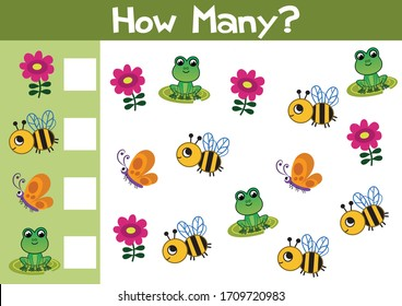 Counting nature game illustration for preschool kids in vector format. How many are there?