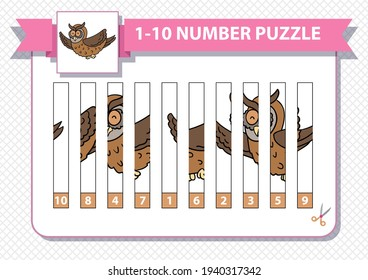 Counting number puzzle with cartoon rocket. From 1 to 10. Cut and assemble. Owl, bird