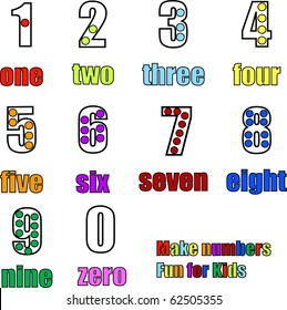 Counting numbers from 0 to 9 zero to nine with words, colors and dots illustration vector
