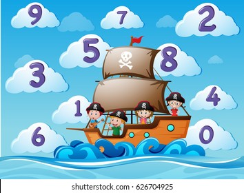 Counting numbers with children on ship illustration