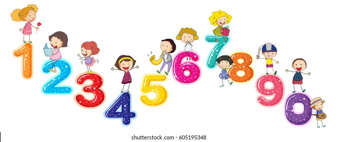 Counting Numbers Little Kids Illustration Stock Vector (Royalty Free)  605195348