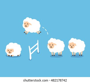 Counting sheep to fall asleep vector illustration. Cute cartoon sheep jumping over fence. Good night sleep metaphor.