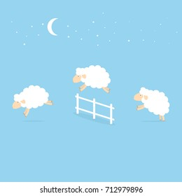 counting sheep jumping over the fence. Vector illustration