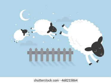 counting sheep vector/illustration