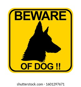 Countion of dog. beware of dog sign vector with yellow background
