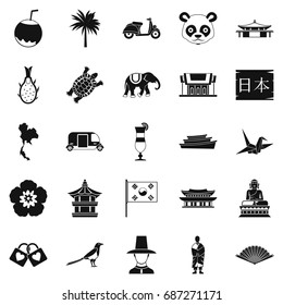 Countries in Asia icons set. Simple set of 25 countries in asia vector icons for web isolated on white background