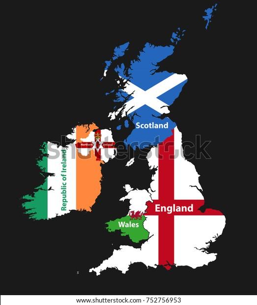 イギリス諸島の国:英国(英国、スコットランド、ウェールズ、北 ...