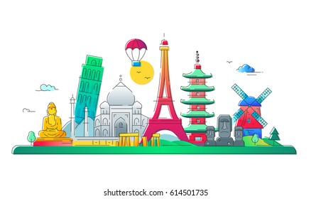 Countries - modern vector line travel illustration. Discover India, Japan, France, Italy, Netherlands. See great landmarks like eiffel tower, tower of pisa, buddha monument, torii, windmill, taj mahal