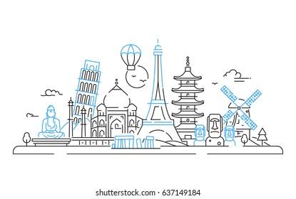Countries - modern vector line travel illustration. India, Japan, France, Italy, Netherlands. See great landmarks like Eiffel tower, tower of Pisa, buddha monument, torii, windmill, Taj mahal