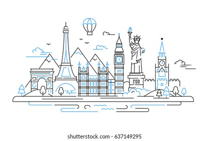 Countries - modern vector line travel illustration. Discover Russia, England, USA, France. Have a trip, enjoy your vacation. Be on a journey. See landmarks like stature of liberty, kremlin, tower
