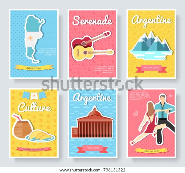 Country Argentina Travel Vector Brochure Cards Stock Vector