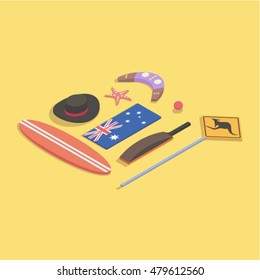 Country Australia, vector isometric concept illustration: hat, surfing, flag, starfish, boomerang, ball, cricket, road sign