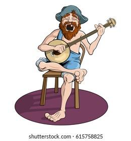Country banjo player singing