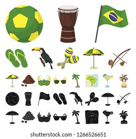 Country Brazil cartoon, black icons in set collection for design. Travel and attractions Brazil vector symbol stock web illustration.