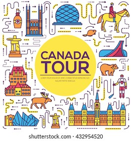 Country Canada travel vacation infographic of place and feature. Set of architecture, fashion, people, item, nature background concept. Infographic traditional ethnic flat, outline, thin line icon