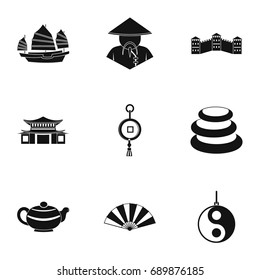 Country of China icon set. Simple style set of 9 country of China vector icons for web isolated on white background