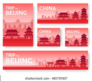 Country China landscape vector banners. Set of architecture, fashion, people, items, nature background concept. Infographic template design for web and mobile on flat icon style