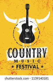 Country Cowboy Music Festival Live Event Creative Poster Concept. Guitar With Cow Skull Rough Textured Vector Illustration On Grunge Background