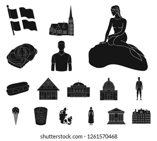 Country Denmark black icons in set collection for design. Travel and attractions Denmark vector symbol stock web illustration.