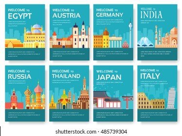 Country of Egypt, Austria, Germany, India, Russia, Thailand, Japan, Italy card set. Travel of the world of flyer, magazines, poster, book cover, banner. Layout  infographic template illustration page