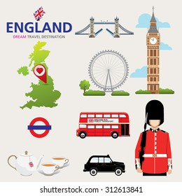 Country England travel vacation guide of goods, places and features. Set of Infographic Element / icon / Symbol , Vector Design