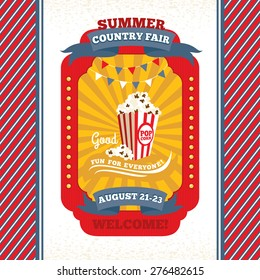 Country fair vintage invitation card vector illustration