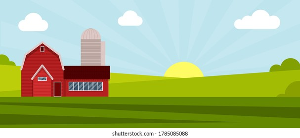 Country farm house on a green meadow, agricultural construction. Flat vector illustration on a background of blue sky with clouds.Cartoon rural landscape panorama field.Banner for website