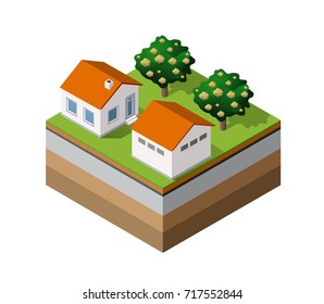 Country farm trees natural forest in isometric landscape projection