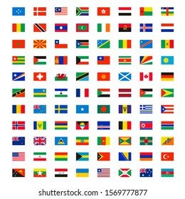 Country flags. World wide independence map name of different flags banners vector symbols