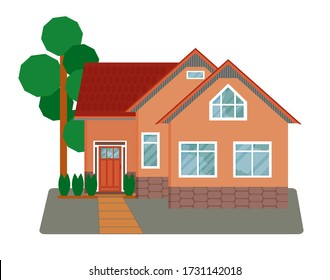 Country flat style house with red roof. Estate concept. Village cottage with a tree.