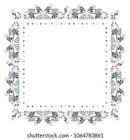 country flower frame,  vector; ornament; decorative frame; floral designs; decorative elements; square frame; spring; flowers; buds; leaf; plants; flower decorations; pink; tender, plants,