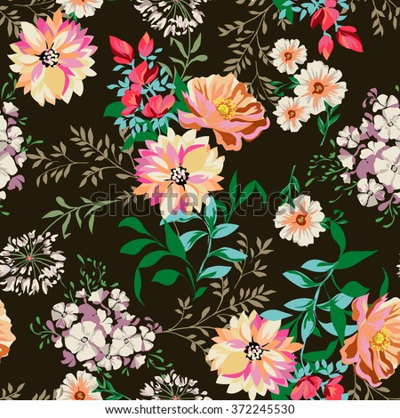 Country Flower Print Seamless Background