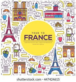 Country France travel vacation guide of goods, place and feature. Set of architecture, fashion, people, item, nature background concept. Infographic traditional ethnic flat, outline, thin line icon