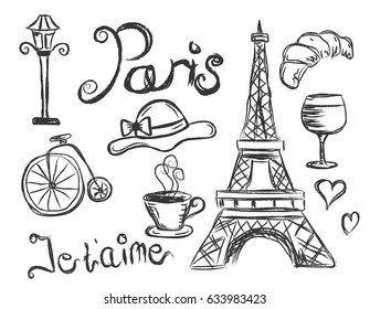 Country France travel vacation set with Doodles style